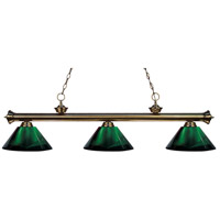 Z-Lite 200-3AB-ARG Riviera 3 Light 57 inch Antique Brass Island Light Ceiling Light in Acrylic Green