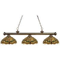 Riviera 3 Light 57 inch Antique Brass Billiard/Island Ceiling Light in Multi Colored Tiffany Glass (C14)