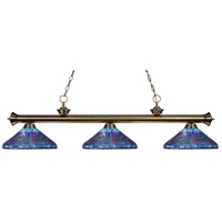 Riviera 3 Light 59 inch Antique Brass Island Light Ceiling Light in Multi Colored Tiffany Glass (D16)