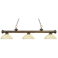 Riviera 3 Light 57 inch Antique Brass Island Light Ceiling Light in Golden Mottle Dome