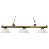 Riviera 3 Light 57 inch Antique Brass Island Light Ceiling Light in Matte Opal Dome