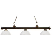 Riviera 3 Light 57 inch Antique Brass Island Light Ceiling Light in White Linen Dome