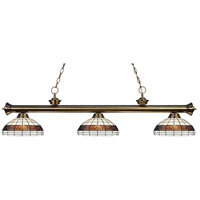 Riviera 3 Light 57 inch Antique Brass Island Light Ceiling Light in Multi Colored Tiffany Glass (F14-1)