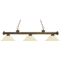 Riviera 3 Light 59 inch Antique Brass Island Light Ceiling Light in Golden Mottle