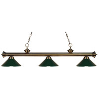 Riviera 3 Light 57 inch Antique Brass Island Light Ceiling Light in Dark Green Metal