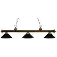 Riviera 3 Light 57 inch Antique Brass Island Light Ceiling Light in Matte Black Metal