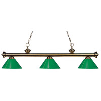 Riviera 3 Light 57 inch Antique Brass Island Light Ceiling Light in Green Plastic