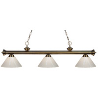 Riviera 3 Light 57 inch Antique Brass Island Light Ceiling Light in White Plastic