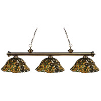 Riviera 3 Light 57 inch Antique Brass Island Light Ceiling Light in Multi Colored Tiffany Glass (R14A)