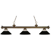 Z-Lite 200-3AB-RMB Riviera 3 Light 57 inch Antique Brass Island Light Ceiling Light in Clear Ribbed and Matte Black