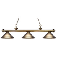 Z-Lite 200-3AB-SAB Riviera 3 Light 57 inch Antique Brass Island Light Ceiling Light in Stepped Antique Brass