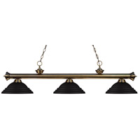 Z-Lite 200-3AB-SMB Riviera 3 Light 57 inch Antique Brass Island Light Ceiling Light in Stepped Matte Black