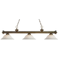Riviera 3 Light 59 inch Antique Brass Island Light Ceiling Light in White Mottle