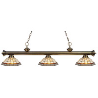 Z-Lite 200-3AB-Z14-35 Riviera 3 Light 57 inch Antique Brass Island Light Ceiling Light in Multi Colored Tiffany Glass (35)