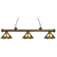 Riviera 3 Light 57 inch Antique Brass Island Light Ceiling Light in Multi Colored Tiffany Glass (37)
