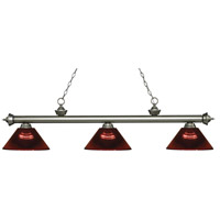 Riviera 3 Light 57 inch Antique Silver Island Light Ceiling Light in Acrylic Burgundy