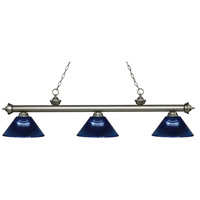 Riviera 3 Light 57 inch Antique Silver Island Light Ceiling Light in Acrylic Dark Blue