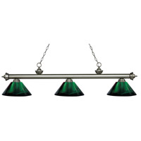Z-Lite 200-3AS-ARG Riviera 3 Light 57 inch Antique Silver Island Light Ceiling Light in Acrylic Green