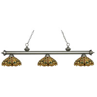 Z-Lite 200-3AS-C14 Riviera 3 Light 57 inch Antique Silver Island Light Ceiling Light in Multi Colored Tiffany Glass (C14)