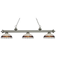 Riviera 3 Light 57 inch Antique Silver Island Light Ceiling Light in Multi Colored Tiffany Glass (F14-1)