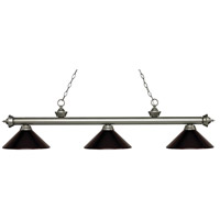 Z-Lite 200-3AS-MBRZ Riviera 3 Light 57 inch Antique Silver Island/Billiard Ceiling Light in Bronze Metal