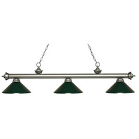 Riviera 3 Light 57 inch Antique Silver Island Light Ceiling Light in Dark Green Metal