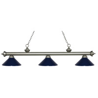 Riviera 3 Light 57 inch Antique Silver Island Light Ceiling Light in Navy Blue Metal