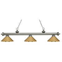 Z-Lite 200-3AS-MPB Riviera 3 Light 57 inch Antique Silver Island/Billiard Ceiling Light in Polished Brass Metal