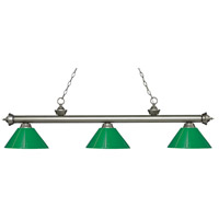 Riviera 3 Light 57 inch Antique Silver Island Light Ceiling Light in Green Plastic