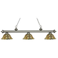 Z-Lite 200-3AS-R14A Riviera 3 Light 57 inch Antique Silver Island Light Ceiling Light in Multi Colored Tiffany Glass (R14A)