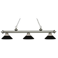 Z-Lite 200-3AS-RMB Riviera 3 Light 57 inch Antique Silver Island/Billiard Ceiling Light in Clear Ribbed and Matte Black