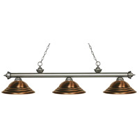 Z-Lite 200-3AS-SAC Riviera 3 Light 59 inch Antique Silver Island/Billiard Ceiling Light in Stepped Antique Copper