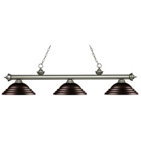 Z-Lite 200-3AS-SBRZ Riviera 3 Light 59 inch Antique Silver Island/Billiard Ceiling Light in Stepped Bronze