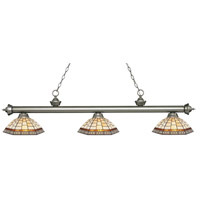 Z-Lite 200-3AS-Z14-35 Riviera 3 Light 57 inch Antique Silver Island Light Ceiling Light in Multi Colored Tiffany Glass (35)