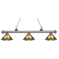 Z-Lite 200-3AS-Z14-37 Riviera 3 Light 57 inch Antique Silver Island Light Ceiling Light in Multi Colored Tiffany Glass (37)