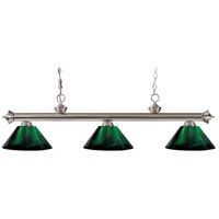 Z-Lite 200-3BN-ARG Riviera 3 Light 57 inch Brushed Nickel Island Light Ceiling Light in Acrylic Green