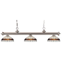 Z-Lite 200-3BN-F14-1 Riviera 3 Light 57 inch Brushed Nickel Island Light Ceiling Light in Multi Colored Tiffany Glass (F14-1)