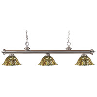 Z-Lite 200-3BN-R14A Riviera 3 Light 57 inch Brushed Nickel Island/Billiard Ceiling Light in Multi Colored Tiffany Glass 18.2