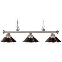 Z-Lite 200-3BN-RBN Riviera 3 Light 57 inch Brushed Nickel Island Light Ceiling Light in Clear Ribbed and Brushed Nickel