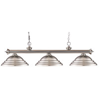 Riviera 3 Light 57 inch Brushed Nickel Island Light Ceiling Light in Stepped Bronze