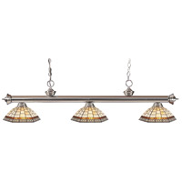 Z-Lite 200-3BN-Z14-35 Riviera 3 Light 57 inch Brushed Nickel Island Light Ceiling Light in Multi Colored Tiffany Glass (35)