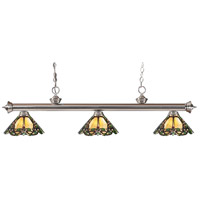 Z-Lite 200-3BN-Z14-37 Riviera 3 Light 57 inch Brushed Nickel Island Light Ceiling Light in Multi Colored Tiffany Glass (37)