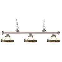 Z-Lite 200-3BN-Z16-30 Riviera 3 Light 59 inch Brushed Nickel Island Light Ceiling Light in Multi Colored Tiffany Glass (30)