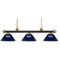 Z-Lite 200-3BRZ+SG-ARDB Riviera 3 Light 57 inch Bronze and Satin Gold Island/Billiard Ceiling Light in Dark Blue Acrylic 10.65