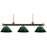 Z-Lite 200-3BRZ+SG-ARG Riviera 3 Light 57 inch Bronze and Satin Gold Island/Billiard Ceiling Light in Green Acrylic 10.65