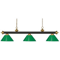 Z-Lite 200-3BRZ+SG-PGR Riviera 3 Light 57 inch Bronze and Satin Gold Island/Billiard Ceiling Light in Green Plastic 10.4