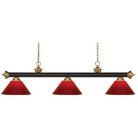 Z-Lite 200-3BRZ+SG-PRD Riviera 3 Light 57 inch Bronze and Satin Gold Island/Billiard Ceiling Light in Red Plastic 10.4