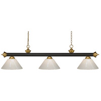 Z-Lite 200-3BRZ+SG-PWH Riviera 3 Light 57 inch Bronze and Satin Gold Island/Billiard Ceiling Light in White Plastic 10.4