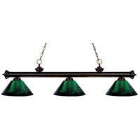 Riviera 3 Light 57 inch Bronze Island Light Ceiling Light in Acrylic Green