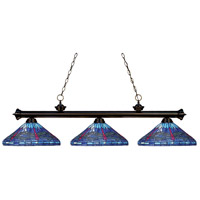 Riviera 3 Light 59 inch Bronze Billiard Ceiling Light in Multi Colored Tiffany Glass (D16)